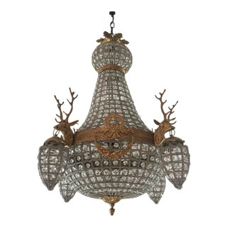 Brass and Crystal Chandelier with Stag Detail