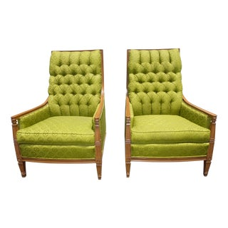 Vintage Mid-Century Tufted Green Chairs - A Pair
