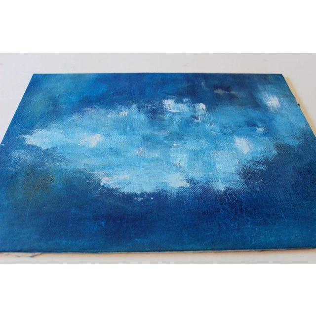 Modern Abstract Blue & White Painting - Image 2 of 4