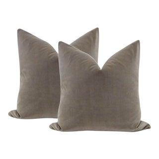 "22"" Dove Gray Velvet Pillows - a Pair"