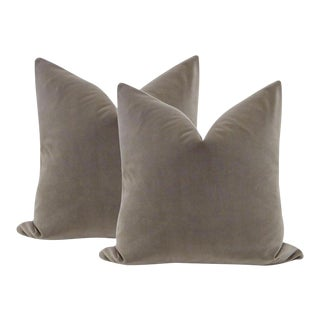 "22"" Velvet Pillows in Dove Gray - a Pair"