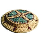 Image of Vintage Woven Basket Tribal Tray Bohemian Decor