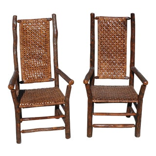 Pair of Signed Old Hickory Tall Back Armchairs