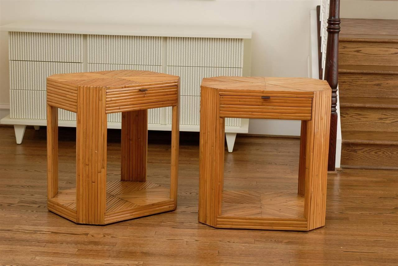 Divine Pair Of Vintage Split Bamboo End Tables Or Night Stands   Image 2 Of  9