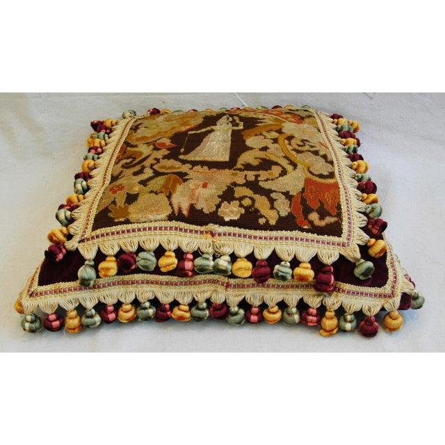 Custom Antique French Needlepoint & Velvet Pillow - Image 8 of 11