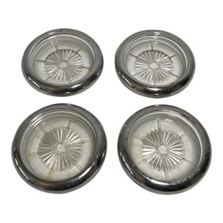 Sterling Silver & Glass Coasters - Set of 4