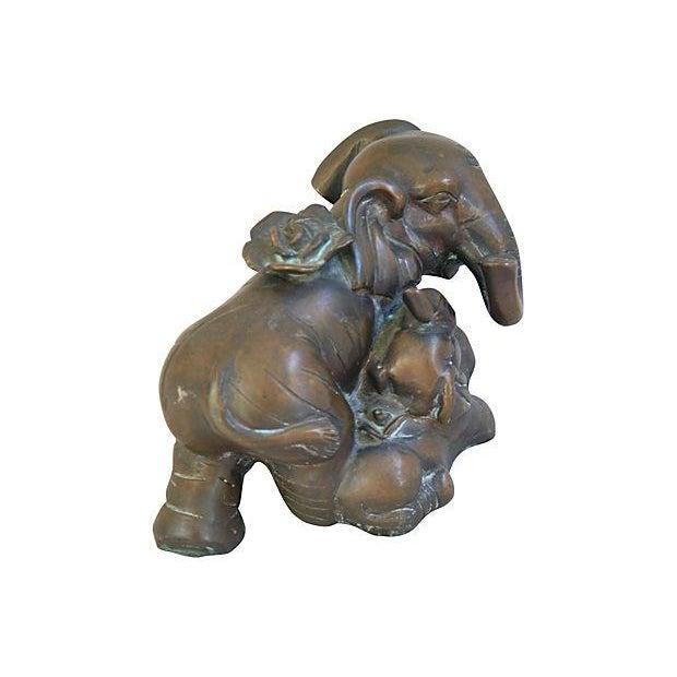 Image of Mid-Century Bronze Elephant