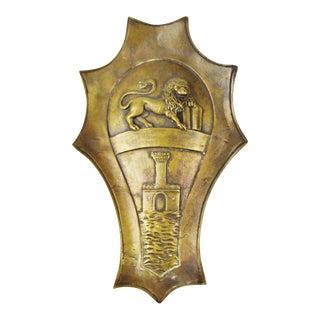 Vintage Brass Coat of Arms Door Adornment