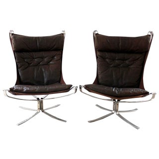 1970s Sigurd Ressell High-Backed Leather & Chrome Falcon Chairs