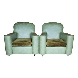 1940's Green Leather Club Chairs - A Pair