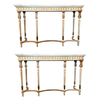 Maison Jansen Style Parcel-Gilt and Painted Louis XVI Style Consoles - a Pair