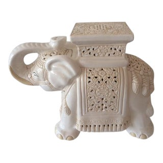 Vintage Elephant Off White Ceramic Garden Seat
