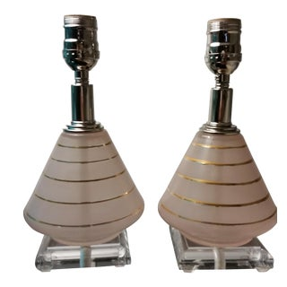Pink Frosted Glass Table Lamps - A Pair