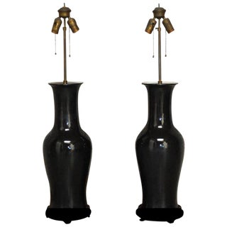 Chinese Black Noir Porcelain Vase Table Lamps - A Pair