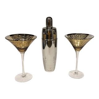 Michael Graves Cocktail Shaker & Gold & Silver Martini Glasses - Set of 2