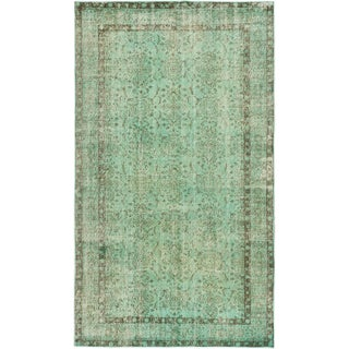 "Green Vintage Turkish Overdyed Rug - 5'2"" X 8'11"""