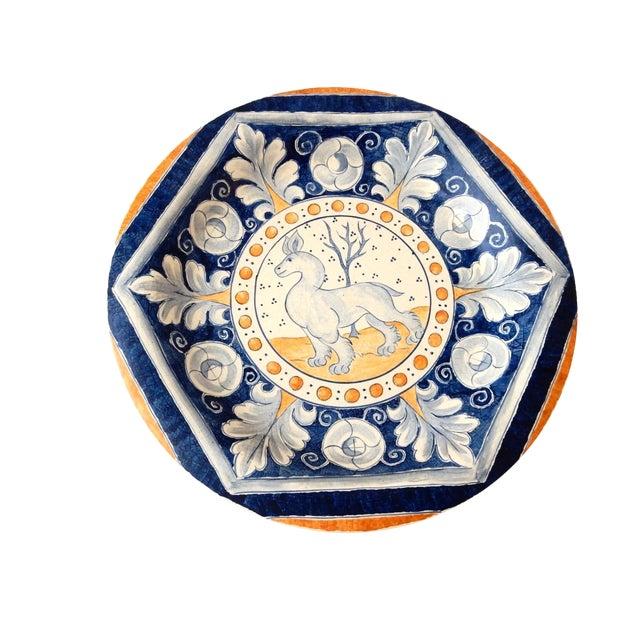 Vintage Italian Blue & Yellow Majolica Platter - Image 1 of 6