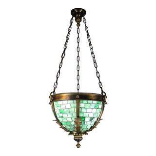 Exceptional Brass Bowl Fixture with Green Slag Leaded Glass Panels