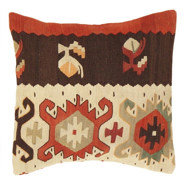 Image of Pasargad Vintage Brown And Cream Kilim Pillow