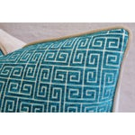 Image of Designer Turquoise Greek Key Velvet Pillows - Pair