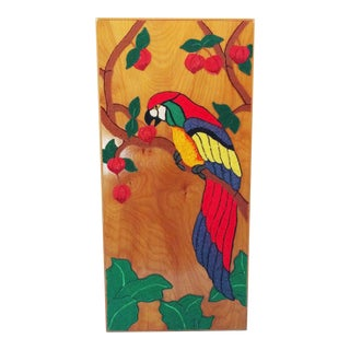 Felted Wool Parrot Fiber Art on Panel
