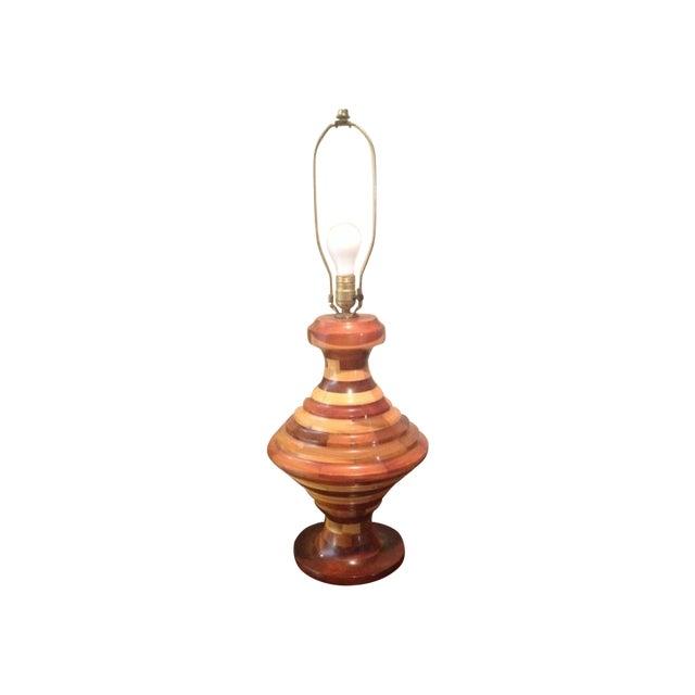 Vintage Unique Large Multi Wood Layered Lamp - Image 1 of 4