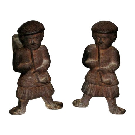 Cast Iron Scotsman Andirons - Pair - Image 1 of 3