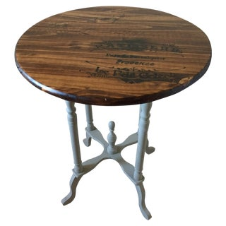 Vintage French Brown & Gray Side Table