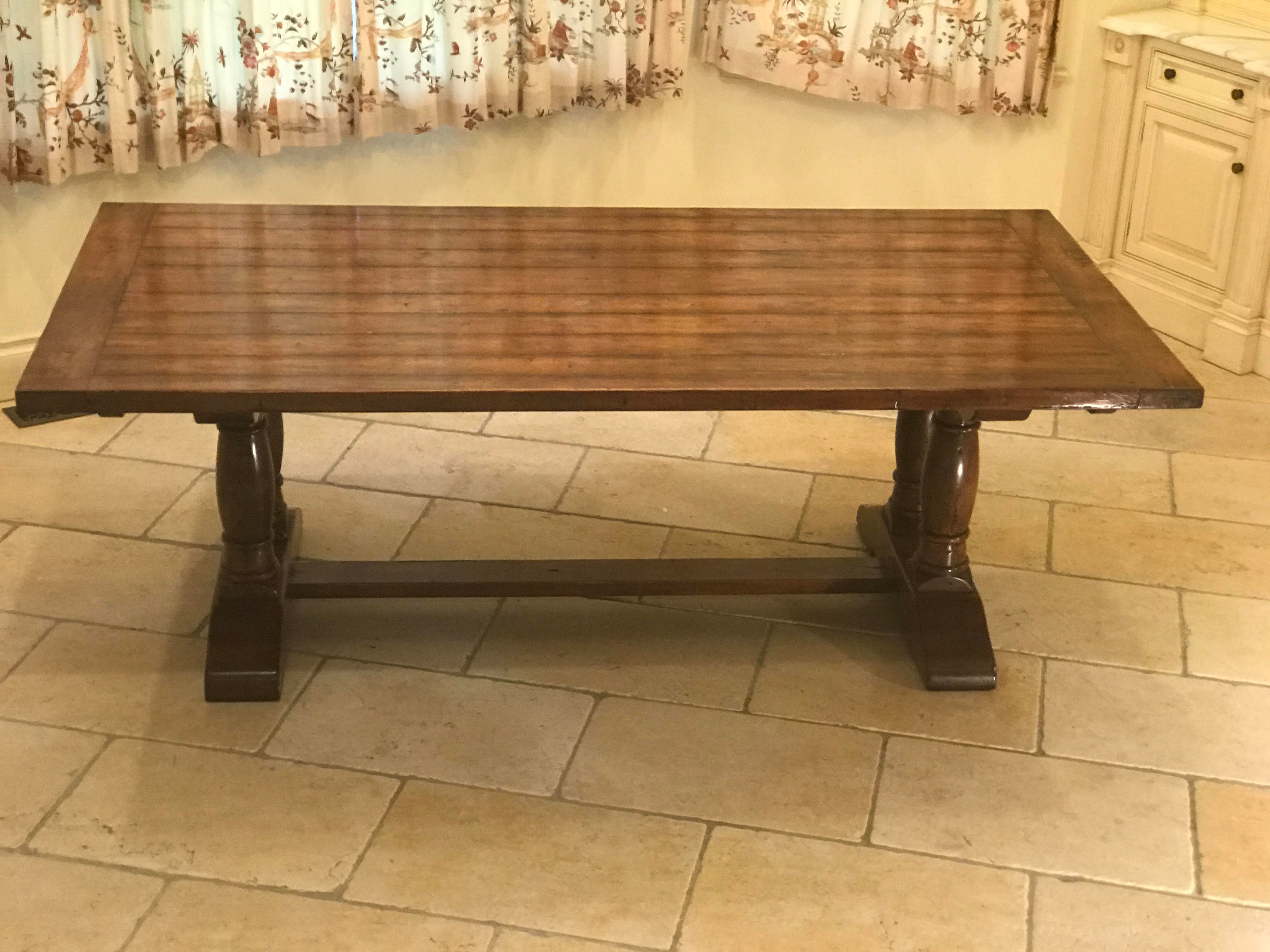 Robert Allen English Country Column Trestle Plank Wood Table Top   Image 3  Of 11