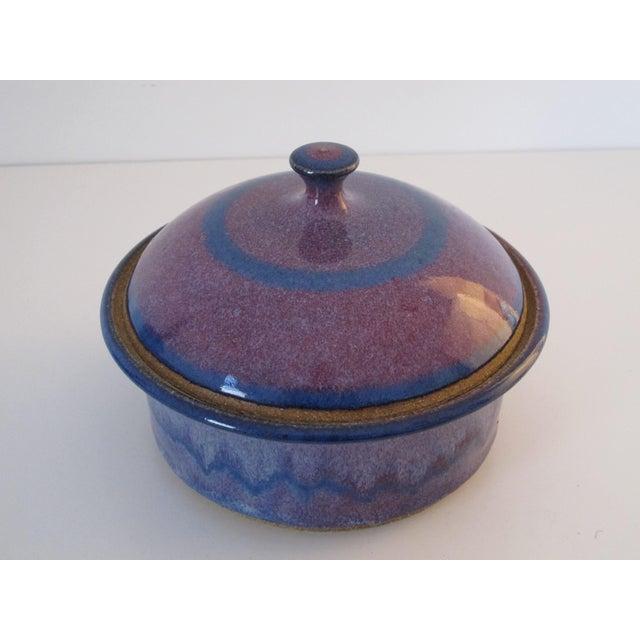 Blue & Purple Pottery Casserole Dish - Image 5 of 6