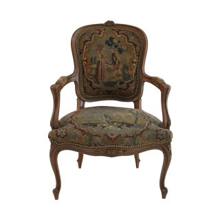French Style Walnut Aubusson Chair
