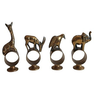 Brass Animal Napkin Holders - Set of 4