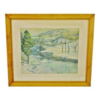 Vintage Framed Winter Scene Print by George Gardner Symons