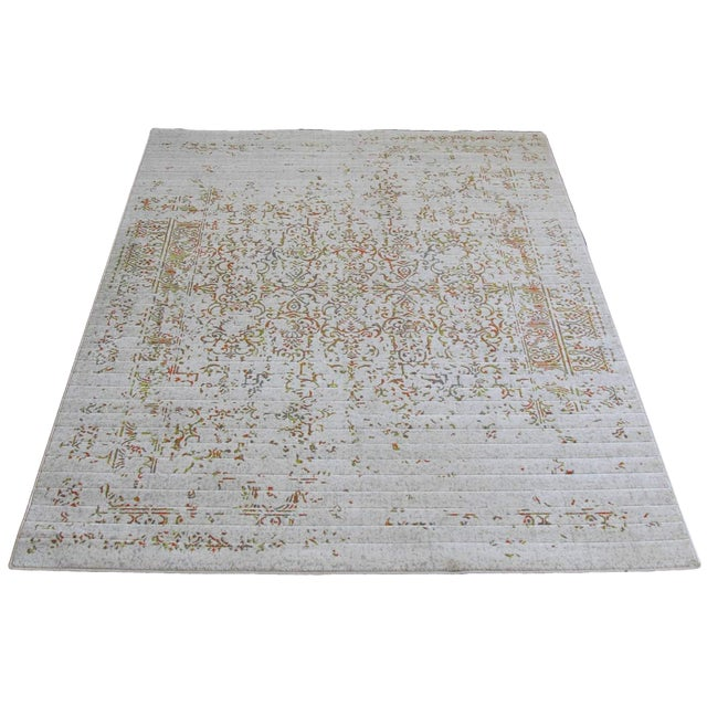 "Distressed Turkish Green Orange Rug - 8' x 10'7"" - Image 1 of 4"