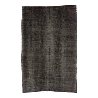 Vintage Modern Black Goat Hair Kilim Rug - 6′11″ × 10′8″