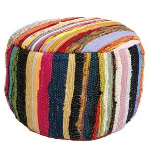 Multicolor Sari Rug Ottoman Stool