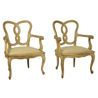 Painted Ribbon Back Armchairs - A Pair