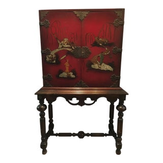 Chinese Red Hand Painted Hutch
