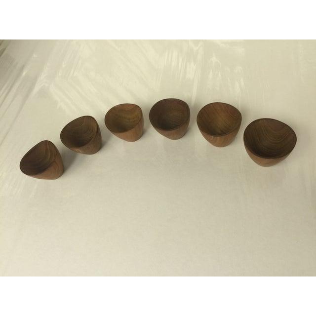 Ernst Henriksen Tiny Danish Teak Bowls - Set of 6 - Image 3 of 11