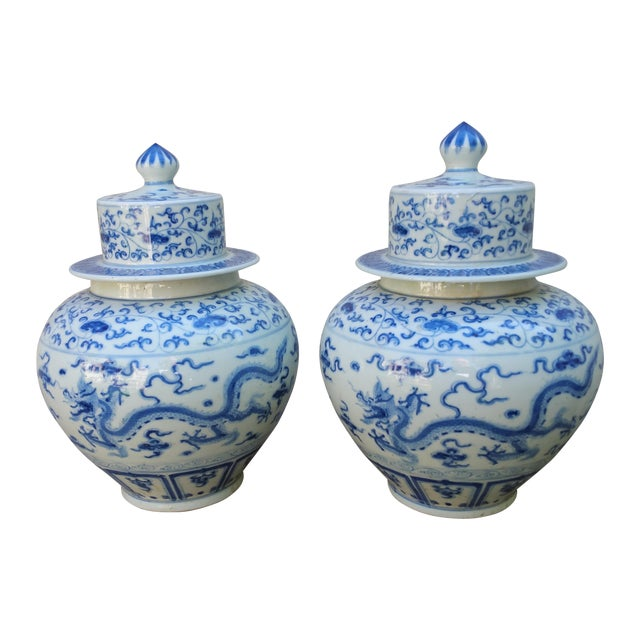 Chinese Handpainted Mythical Dragon Vases - A Pair - Image 1 of 7