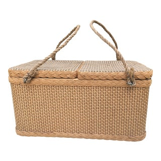 1950s Woven Picnic Basket With Rope Handles