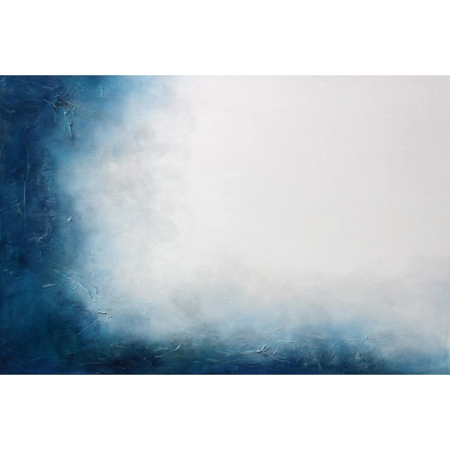Large Original Textured Abstract Painting Dreamstate Blue Grey White Wall Hanging - Image 2 of 4