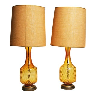 Mid-Century Amber Glass Table Lamps - A Pair