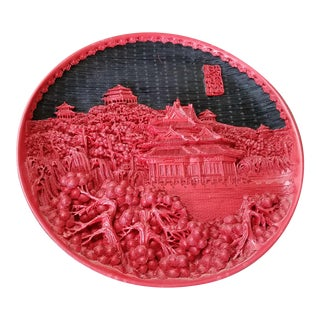 Chinese Black & Red Cinnabar Plate