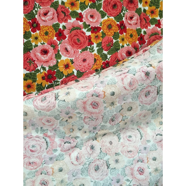Vintage 1960s Pink Floral Curtain - Image 5 of 6