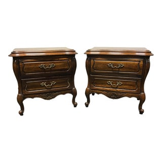 Hickory French Country Oak Nightstands - A Pair
