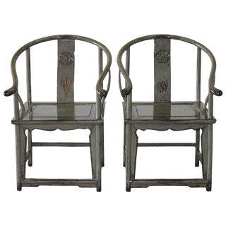 Gray Horseshoe Chairs - A Pair
