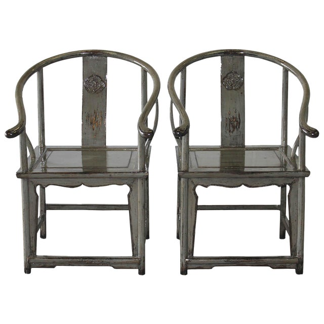 Image of Gray Horseshoe Chairs - A Pair