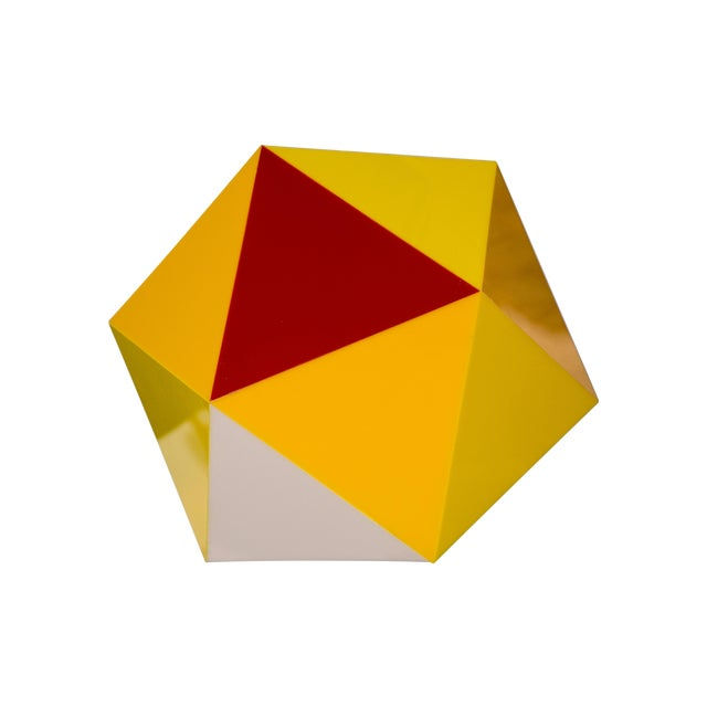 Geodesic Yellow & Orange Acrylic Pendant Light - Image 1 of 6