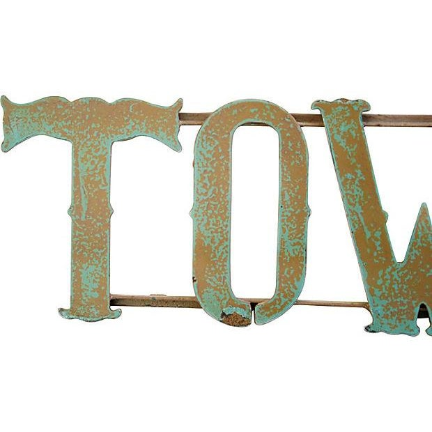 1930s Hand-Forged Metal Towne Sign - Image 2 of 4
